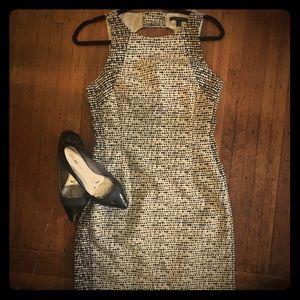Banana Republic Black/White Patterned Sheath Dress